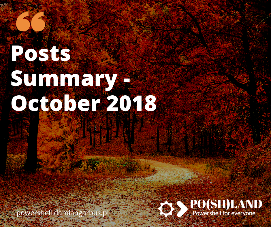 Posts Summary – October 2018