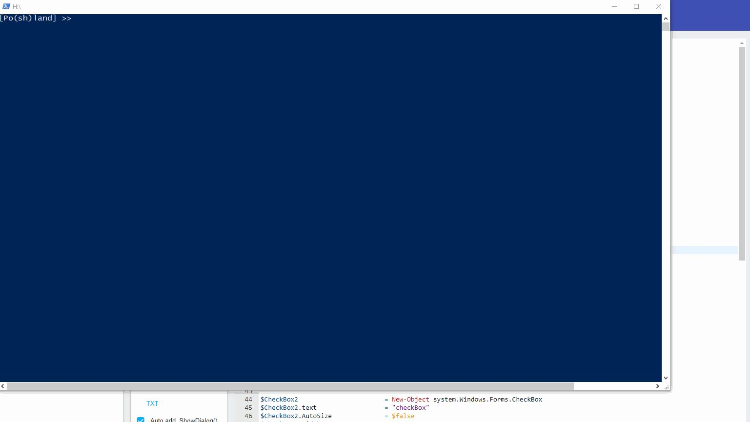 user interface for powershell