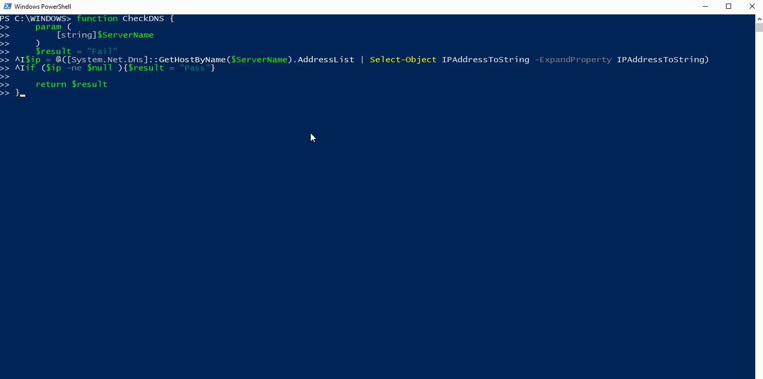 check dns Powershell function